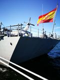NATO warships. Artistic look in vivid colours. GDYNIA, POLAND - SEPTEMBER 17, 2016: Visiting the team SNMG1 NATO warships in the port of Gdynia. Two frigates royalty free stock photography