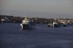 NATO warships in the river named Daugava Stock Images