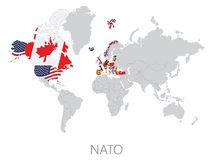 Nato on world map Royalty Free Stock Image