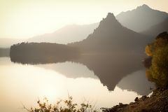 Natonalpark Burabay bij zonsondergang stock fotografie