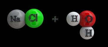 Natrium-chloride + water royalty-vrije stock foto