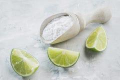 Natriumbikarbonat och citron royaltyfri fotografi