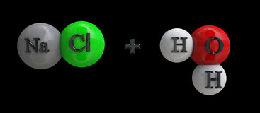 Natriumchlorid + Wasser Lizenzfreies Stockfoto