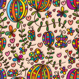 Natürliche Blumen-Betriebsnahtloses Muster des Schmetterlinges Lizenzfreies Stockfoto