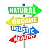 Natürliche organische holistische Lebensmittel-Nahrungs-Pfeil Sig der gesunden Ernährung Lizenzfreie Stockfotografie