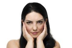 Natürliches Frauengesicht mit Gesundheitshaut Stockbild