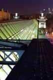 Natt över staden på bron Royaltyfri Bild