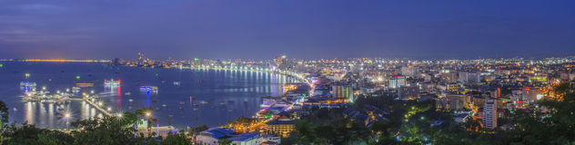 Natt av den Pattaya staden Royaltyfria Foton