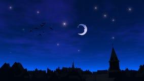 Natt av den sagolika staden Arkivfoton
