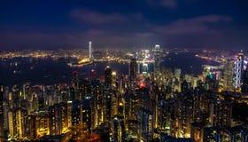 Natt av Hong Kong Arkivfoto