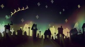 Natt av jul med jultomten Arkivbild
