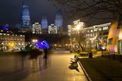 Natt Baku Royaltyfri Bild