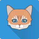 Natt Cat Face Circle Icon Plan designvektorillustration med lång skugga Häxadjursymbol Royaltyfri Fotografi