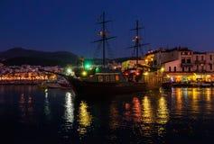natt crete Skepp royaltyfri bild