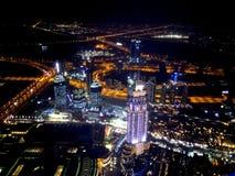 Natt Dubai från Burj Khalifa Arkivfoto