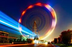 Natt en roterande pariserhjul Kina Arkivfoto