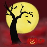 natt för halloween illustrationmoon Royaltyfri Bild