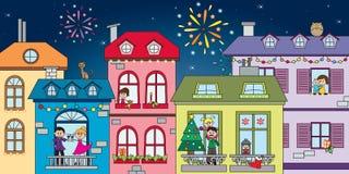 natt för julliggandemagi Royaltyfria Bilder