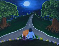 Natt för kanfasmålningvisning av förälskelse med par, månen och träd med människan som framsidor Arkivfoton