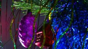 Natt för leksaker för träd för julljus härlig stock video