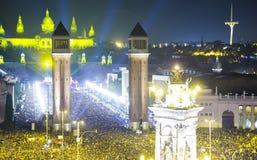 Natt för nytt år på Placa Espana i Barcelona Royaltyfri Bild