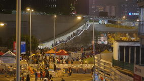 Natt för rensning på paraplyrevolutionen - Amiralitetet, Hong Kong Royaltyfri Bild