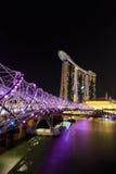 Natt för Singapore marinafjärd Fotografering för Bildbyråer