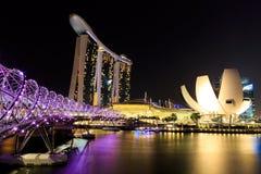 Natt för Singapore marinafjärd Royaltyfri Foto