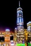 Natt för World Trade Center NYC Fotografering för Bildbyråer