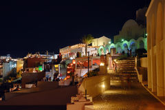 Natt Fira på Santorini, Grekland Fotografering för Bildbyråer