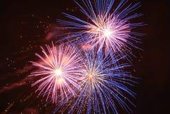 natt fireworks3 Royaltyfri Bild