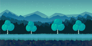 Natt Forest Game Background för den 2d applikationen Royaltyfria Foton