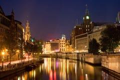 natt för 2 amsterdam Arkivbilder