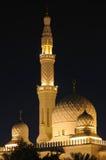 natt för dubai jumeirahmoské Royaltyfri Fotografi