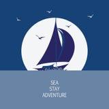 Natt, hav, yacht och seagulls royaltyfri illustrationer