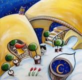 Natt i den snöig borggården Arkivbild