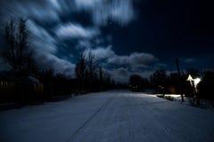 Natt i den Ukraina byn arkivfoton