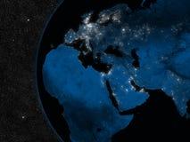 Natt i EMEA-region stock illustrationer