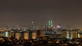 Natt i Kuala Lumpur, Malaysia Arkivbilder