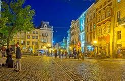 Natt i Lvov Fotografering för Bildbyråer