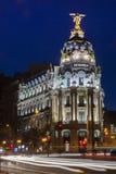 Natt i Madrid Royaltyfri Bild