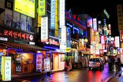Natt i Seoul Royaltyfri Fotografi