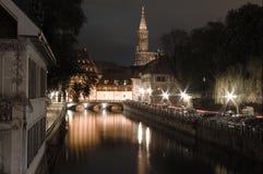 Natt i Strasbourg arkivfoto