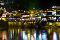 Natt i townen Fenghuang Fotografering för Bildbyråer