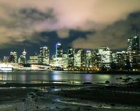 Natt i Vancouver Arkivbild