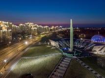 Natt Minsk, Vitryssland arkivfoto