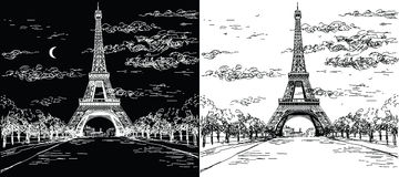 Natt- och daglandskap med Eiffeltorn i svartvitt Arkivbild