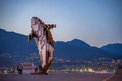 Natt- och dagVancouver viktig av staden och hamnen fotografering för bildbyråer