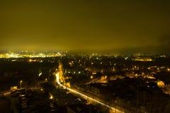 Natt och de ljusa ljusen Arkivfoto