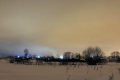 Natt och de ljusa ljusen Arkivbild